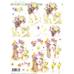 FEUILLE 3D ETAPE - Fille fleurs