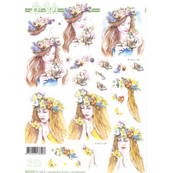 FEUILLE 3D ETAPE - Femme fleurs