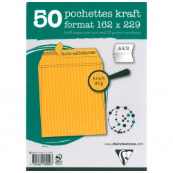 ENVELOPPES KRAFT 229X324 MILLE RAIES PAQUET DE 50