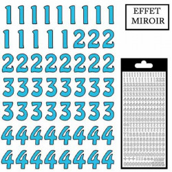 Stickers chiffres - turquoise effet miroir