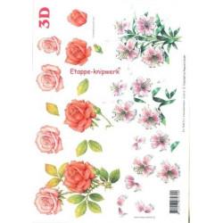 Carterie 3D A4 à découper - Roses 416918