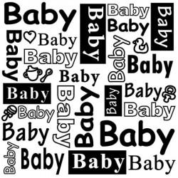 """Classeur d'embossage texte """"BABY"""" 15x15 cm"""