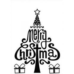 "Classeur d'embossage sapin ""merry christmas"" 10,6x15 cm"
