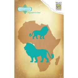 "Dies ""2 Lions"" 5x3,5 cm - 4,5x7cm"