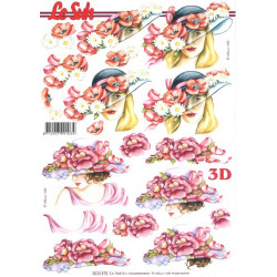 FEUILLE 3D ETAPE - Femme à Chapeau Fleur