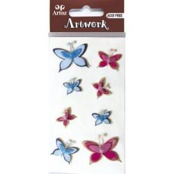 Art-Work: Stickers Papillons bleus et roses