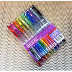 Set de 10 stylos gel à paillettes