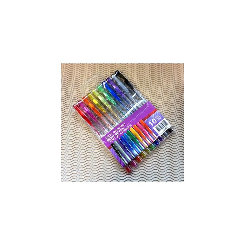 Set de 10 stylos gel à paillettes