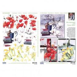 Carterie 3D Prédécoupée A4 - 83850 - Recto verso Mini tableaux de fleur