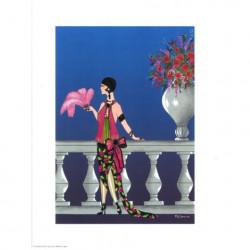 Image 3D - or 25 - 24x30 - femme sur balcon