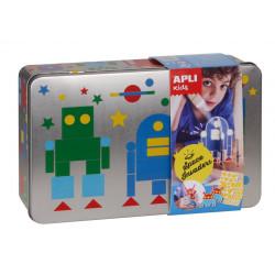 JEU DE GOMMETTES BOITE METAL Robots