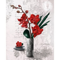 Image pour tableau 3d Orchidées rouges vase haut 24x30 cm -  Aux Bleuets Loisirs créatifs à Reims