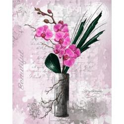 Image pour tableau 3d Orchidées rouges vase haut 24x30 cm GK2430085 -  Aux Bleuets Loisirs créatifs à Reims