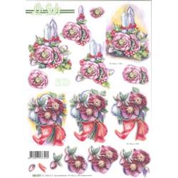 Carte 3D prédéc. - bougies fleurs noël
