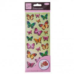 Stickers - Papillons Vert/ Lilas - Effet 3D