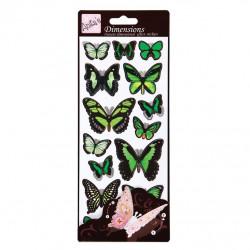 Stickers - Papillons Vert - Effet 3D