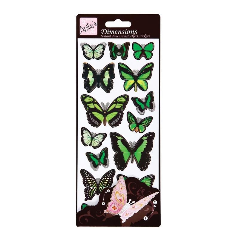 stickers papillons vert effet 3d aux bleuets. Black Bedroom Furniture Sets. Home Design Ideas
