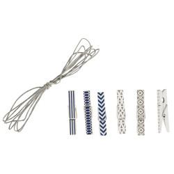 Pinces en bois + cordon bleu/blanc