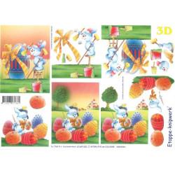 Carterie 3D A4 à découper - Oeufs de Pâques