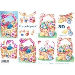 Carterie 3D A4 à découper - Paniers de Pâques