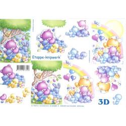 Carterie 3D A4 à découper - Oursons et canetons