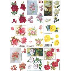Carterie 3D A4 à découper - Petites Roses