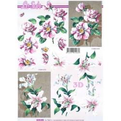 Carterie 3D A4 à découper - Fleurs roses