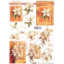 Carterie 3D A4 à découper - Fleurs brunes