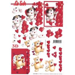 Carterie 3D A4 à découper - St valentin