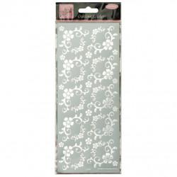 Stickers Peel Off Bordure Coin - Fleurs - Argent