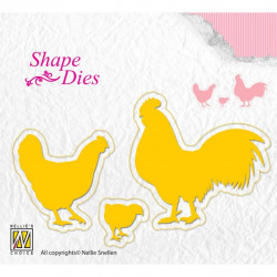 3 Dies poule-coq-poussin