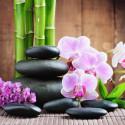 Image pour tableaux 3D GK3030067 - 30X30 - Orchidée et pierres noires et bambou