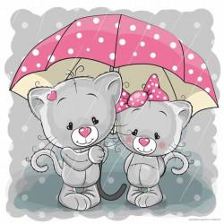 Image pour tableaux 3D GK3030073 - 30X30 - Châtons sous la pluie