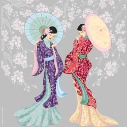 image pour tableaux 3D GK3030075 - 30X30 - 2 Geishas