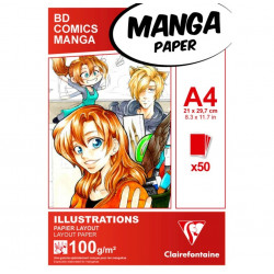 Manga bloc Illustrations A4 50F 100g Blanc