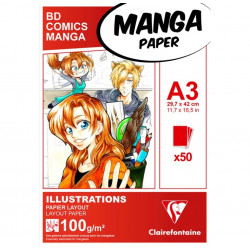 Manga bloc Illustrations A3 50F 100g Blanc