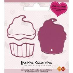 Die - yvonne creations - love - cupcake 4 x 5 cm, 4 x 3,5 cm et 3,5 x 2cm