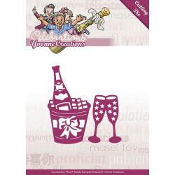 Die - Yvonne Creations - Celebrations - Champagne 4,5 x 8 cm et 3,5 x 5 cm.