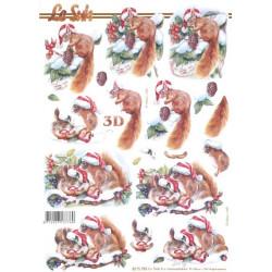 Carte 3D à découper - ecureuil noël