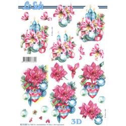 Carte 3D à découper - boules fleurs noël