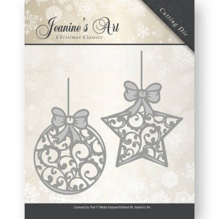 Die - jeaninnes art - JAD10010 - boules de noël 5,2 x 7,4 et 4,6 x 7,5 cm.