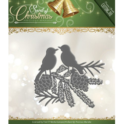 Die - precious marieke - oiseaux noël 7,5 x 7 cm