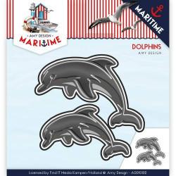 Die - Amy Design - Maritime Dauphins 7,4 x 5,2 et 6,0 x 3,5 cm.
