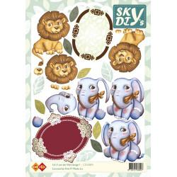 Carte 3D à découper - sky lions et éléphants