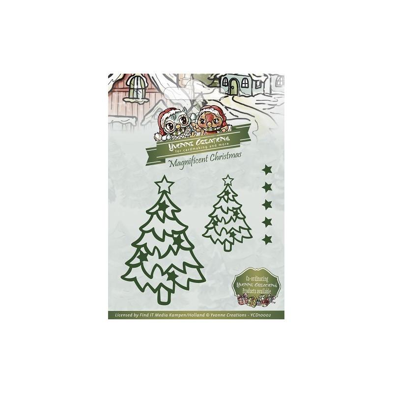 Die - Yvonne Creations - Sapins de Noël étoilés 5 x 7 cm, 3 x 4 cm et 6 x 6 mm.