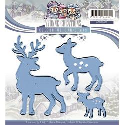 Die - yvonne creations - famille de rennes 4.5 x 7 cm