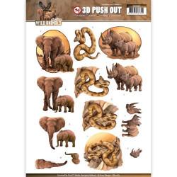Carterie 3D Prédécoupée - Amy design Eléphant Serpent et Rhinocéros