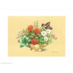 ASTRO 518 - 24X30 - Coupe dorée fleurs rouges
