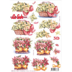 Carte 3D prédéc. - panier de poinsettias