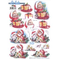 Carterie 3D Prédécoupée - Chatons à Noël 680121